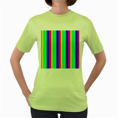 Rainbow Gradient Women s Green T Shirt
