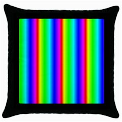 Rainbow Gradient Throw Pillow Case (black) by Simbadda