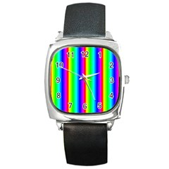 Rainbow Gradient Square Metal Watch