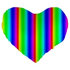 Rainbow Gradient Large 19  Premium Heart Shape Cushions by Simbadda