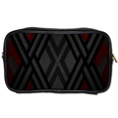 Abstract Dark Simple Red Toiletries Bags 2 Side by Simbadda