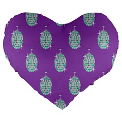 Disco Ball Wallpaper Retina Purple Light Large 19  Premium Heart Shape Cushions by Alisyart