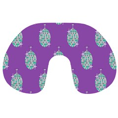 Disco Ball Wallpaper Retina Purple Light Travel Neck Pillows by Alisyart