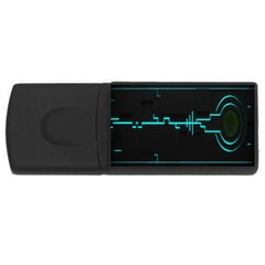 Blue Aqua Digital Art Circuitry Gray Black Artwork Abstract Geometry Usb Flash Drive Rectangular (4 Gb) by Simbadda