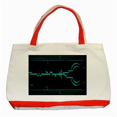 Blue Aqua Digital Art Circuitry Gray Black Artwork Abstract Geometry Classic Tote Bag (red)