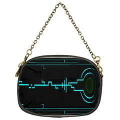 Blue Aqua Digital Art Circuitry Gray Black Artwork Abstract Geometry Chain Purses (one Side)  by Simbadda