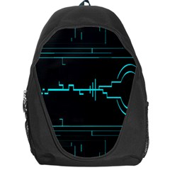Blue Aqua Digital Art Circuitry Gray Black Artwork Abstract Geometry Backpack Bag by Simbadda