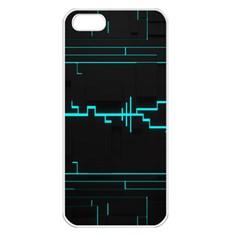 Blue Aqua Digital Art Circuitry Gray Black Artwork Abstract Geometry Apple Iphone 5 Seamless Case (white)