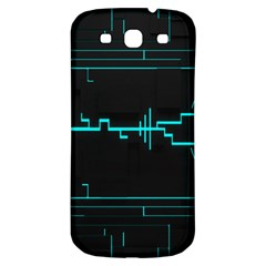 Blue Aqua Digital Art Circuitry Gray Black Artwork Abstract Geometry Samsung Galaxy S3 S Iii Classic Hardshell Back Case