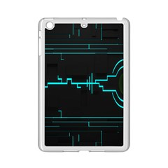 Blue Aqua Digital Art Circuitry Gray Black Artwork Abstract Geometry Ipad Mini 2 Enamel Coated Cases by Simbadda