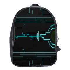 Blue Aqua Digital Art Circuitry Gray Black Artwork Abstract Geometry School Bags (xl)  by Simbadda