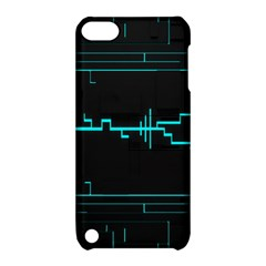 Blue Aqua Digital Art Circuitry Gray Black Artwork Abstract Geometry Apple Ipod Touch 5 Hardshell Case With Stand
