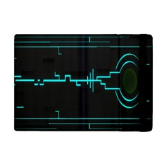 Blue Aqua Digital Art Circuitry Gray Black Artwork Abstract Geometry Ipad Mini 2 Flip Cases by Simbadda