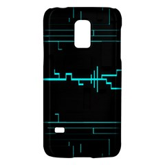 Blue Aqua Digital Art Circuitry Gray Black Artwork Abstract Geometry Galaxy S5 Mini