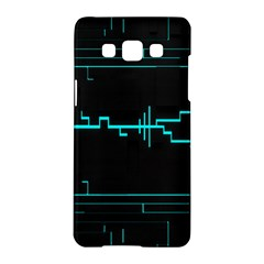 Blue Aqua Digital Art Circuitry Gray Black Artwork Abstract Geometry Samsung Galaxy A5 Hardshell Case  by Simbadda