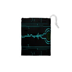 Blue Aqua Digital Art Circuitry Gray Black Artwork Abstract Geometry Drawstring Pouches (xs)  by Simbadda