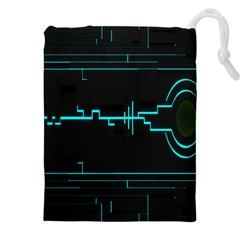 Blue Aqua Digital Art Circuitry Gray Black Artwork Abstract Geometry Drawstring Pouches (xxl)