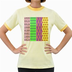 Eye Coconut Palms Lips Pineapple Pink Green Red Yellow Women s Fitted Ringer T Shirts