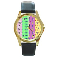 Eye Coconut Palms Lips Pineapple Pink Green Red Yellow Round Gold Metal Watch