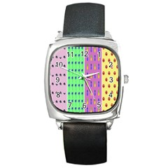 Eye Coconut Palms Lips Pineapple Pink Green Red Yellow Square Metal Watch by Alisyart