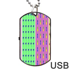 Eye Coconut Palms Lips Pineapple Pink Green Red Yellow Dog Tag Usb Flash (two Sides) by Alisyart