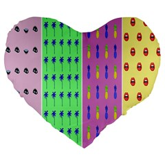 Eye Coconut Palms Lips Pineapple Pink Green Red Yellow Large 19  Premium Heart Shape Cushions