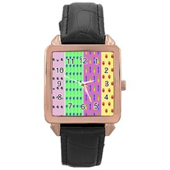 Eye Coconut Palms Lips Pineapple Pink Green Red Yellow Rose Gold Leather Watch
