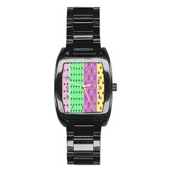 Eye Coconut Palms Lips Pineapple Pink Green Red Yellow Stainless Steel Barrel Watch by Alisyart