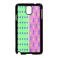 Eye Coconut Palms Lips Pineapple Pink Green Red Yellow Samsung Galaxy Note 3 Neo Hardshell Case (black)