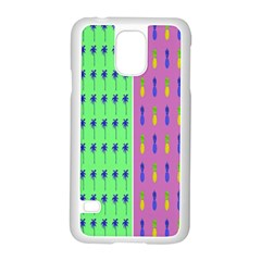 Eye Coconut Palms Lips Pineapple Pink Green Red Yellow Samsung Galaxy S5 Case (white)