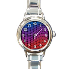 Colorful Red & Blue Gradient Background Round Italian Charm Watch by Simbadda