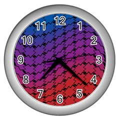 Colorful Red & Blue Gradient Background Wall Clocks (silver)