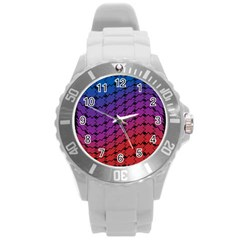 Colorful Red & Blue Gradient Background Round Plastic Sport Watch (l) by Simbadda