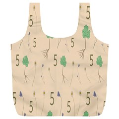 Five Leaf Green Brown Purple Floral Flower Tulip Sunflower Full Print Recycle Bags (l)