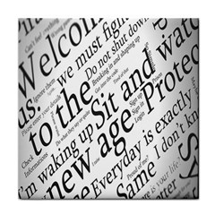 Abstract Minimalistic Text Typography Grayscale Focused Into Newspaper Tile Coasters