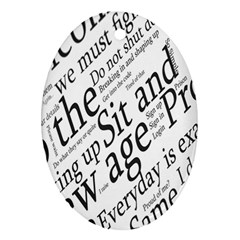 Abstract Minimalistic Text Typography Grayscale Focused Into Newspaper Ornament (oval) by Simbadda