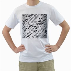 Abstract Minimalistic Text Typography Grayscale Focused Into Newspaper Men s T-shirt (white) (two Sided) by Simbadda
