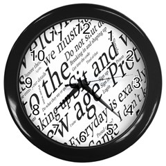 Abstract Minimalistic Text Typography Grayscale Focused Into Newspaper Wall Clocks (black) by Simbadda