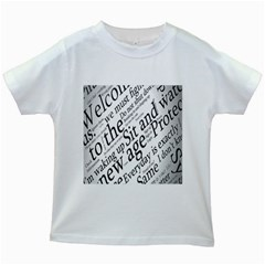 Abstract Minimalistic Text Typography Grayscale Focused Into Newspaper Kids White T Shirts