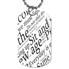 Abstract Minimalistic Text Typography Grayscale Focused Into Newspaper Dog Tag (one Side)