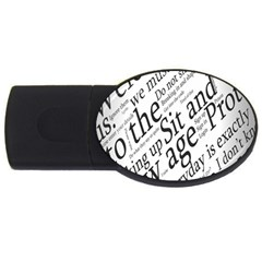 Abstract Minimalistic Text Typography Grayscale Focused Into Newspaper Usb Flash Drive Oval (2 Gb)
