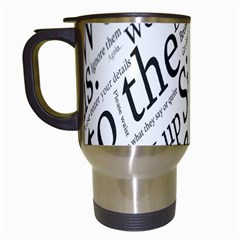 Abstract Minimalistic Text Typography Grayscale Focused Into Newspaper Travel Mugs (white) by Simbadda