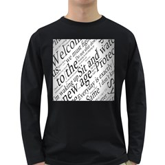 Abstract Minimalistic Text Typography Grayscale Focused Into Newspaper Long Sleeve Dark T Shirts