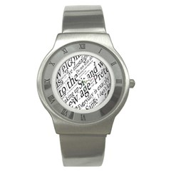 Abstract Minimalistic Text Typography Grayscale Focused Into Newspaper Stainless Steel Watch by Simbadda