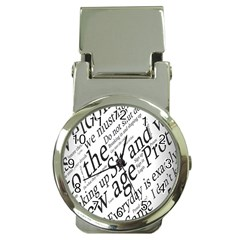 Abstract Minimalistic Text Typography Grayscale Focused Into Newspaper Money Clip Watches by Simbadda