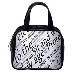 Abstract Minimalistic Text Typography Grayscale Focused Into Newspaper Classic Handbags (one Side) by Simbadda