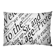 Abstract Minimalistic Text Typography Grayscale Focused Into Newspaper Pillow Case