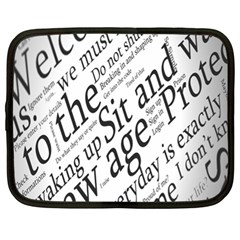 Abstract Minimalistic Text Typography Grayscale Focused Into Newspaper Netbook Case (xl)