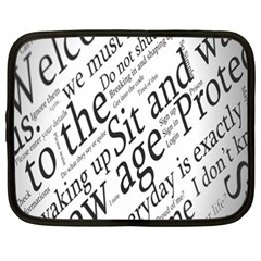 Abstract Minimalistic Text Typography Grayscale Focused Into Newspaper Netbook Case (xxl)  by Simbadda