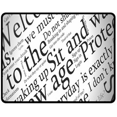Abstract Minimalistic Text Typography Grayscale Focused Into Newspaper Fleece Blanket (medium)  by Simbadda